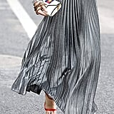 Chartou Metallic Shiny Pleated Skirt