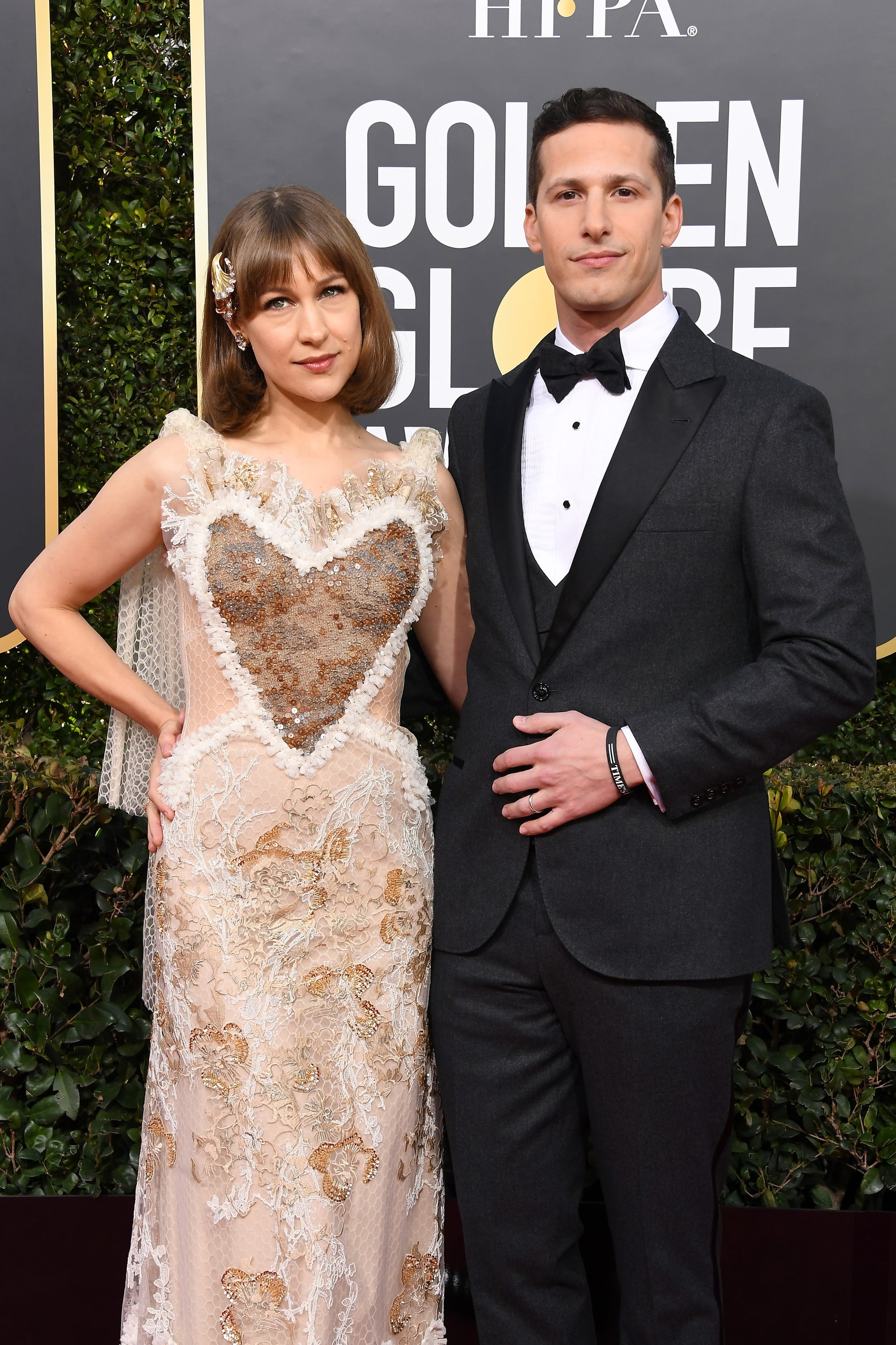 BEVERLY HILLS, CA - JANUARY 06:  Joanna Newsom and Andy Samberg attend the 76th Annual Golden Globe Awards at The Beverly Hilton Hotel on January 6, 2019 in Beverly Hills, California.  (Photo by Steve Granitz/WireImage)