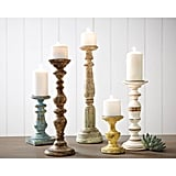 Trans Cain Distressed Wood Candle Holders ($129 per set of 5)