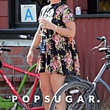 Pink let out a big laugh after a bike ride with pals and her husband, Carey Hart, in LA on Friday.