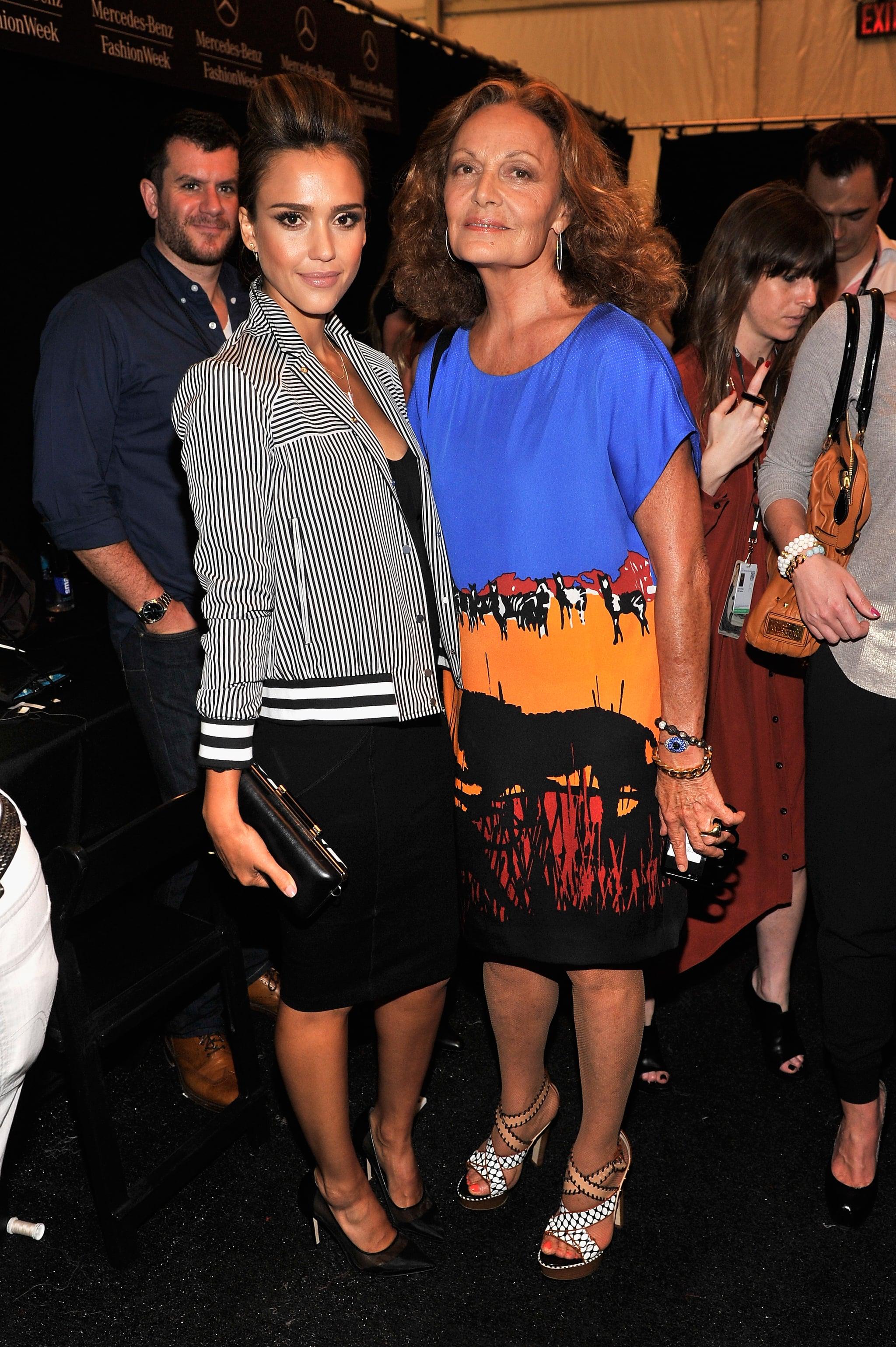 Jessica Alba posed backstage with Diane von Furstenberg before the designer's runway show on Sunday.