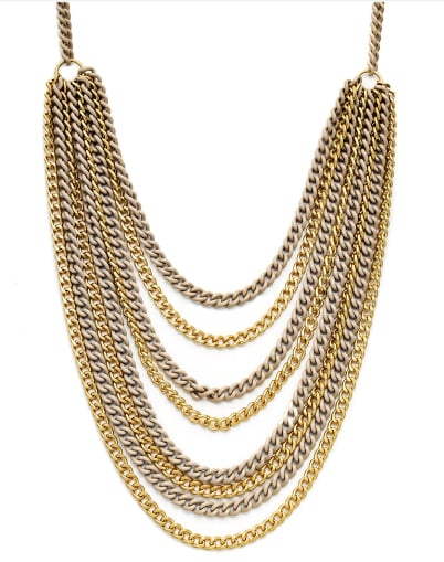 A piece that looks perfect on its own, or even better layered up with your other statement jewels.   Catherine Stein Graduated Layer Chain Necklace ($25)