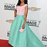 In her pastel Oscar de la Renta gown and matching pink Kotur clutch at the 44th annual NAACP Image Awards in LA, Kerry Washington surely wowed the crowd. Between the sweet hues and larger-than-life silhouette, it was simply stunning.