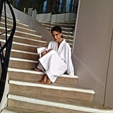 Victoria Beckham posed on Coco Chanel's iconic staircase during a trip to Paris. Source: Twitter user victoriabeckham