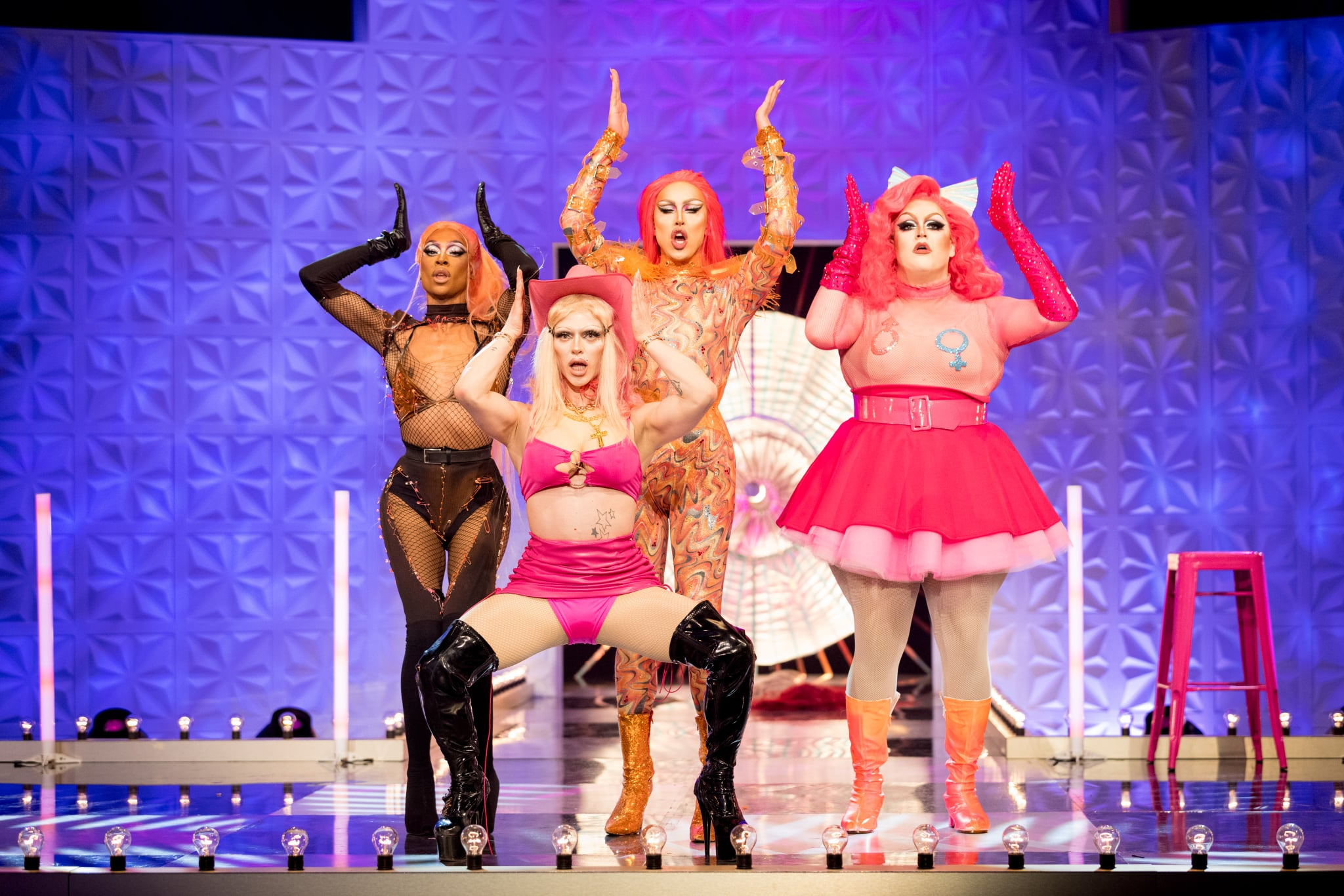 Programme Name: RuPaul's Drag Race UK series 2 - TX: n/a - Episode: RuPaul's Drag Race UK series 2 episode 5 (No. 5) - Picture Shows:  Tayce, Bimini Bon Boulash, A'Whora, Lawrence Chaney - (C) World of Wonder - Photographer: Guy Levy