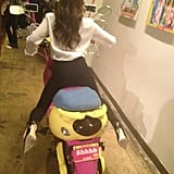Victoria Beckham got ready to speed away on a colourful bike. Source: Twitter user victoriabeckham