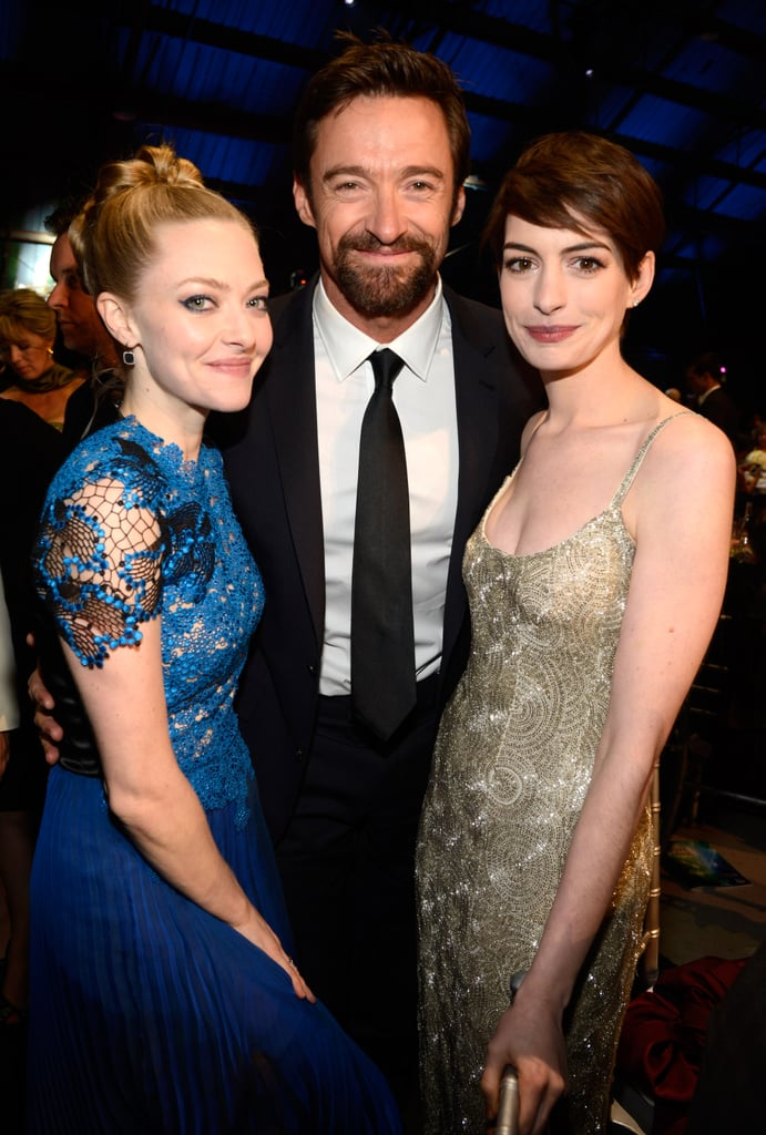 Amanda Seyfried, Hugh Jackman and Anne Hathaway posed together during the Critics' Choice Awards.