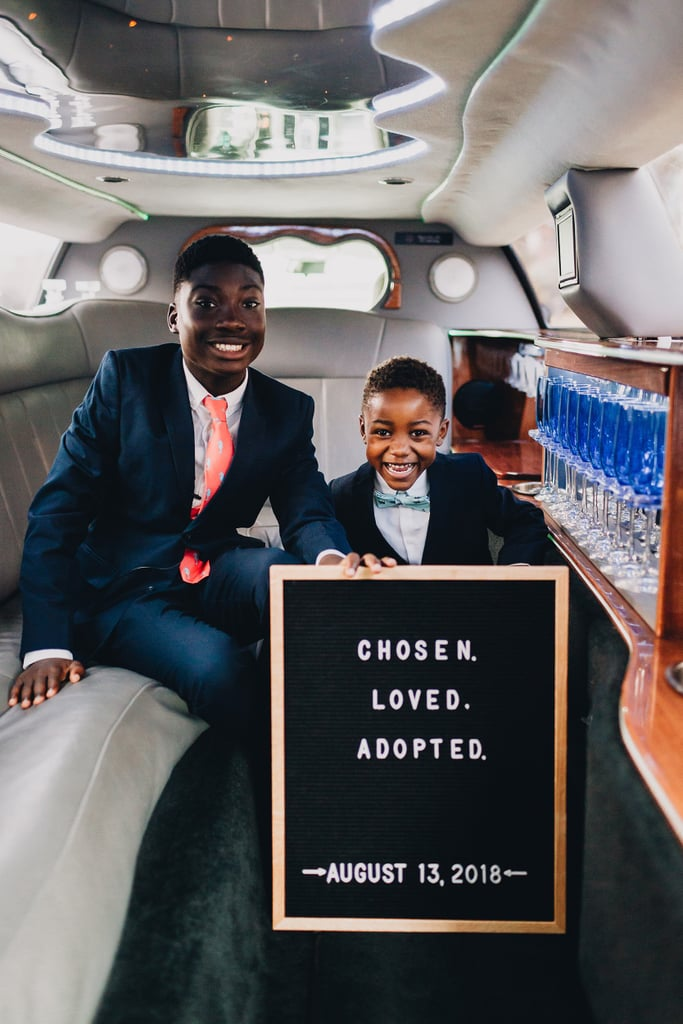 Dayshawn and Michael inside the limo the family took to the courthouse and post-adoption celebrations.