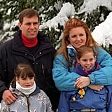 The Yorks posed for a family portrait during their annual ski trip in Switzerland back in 1999.