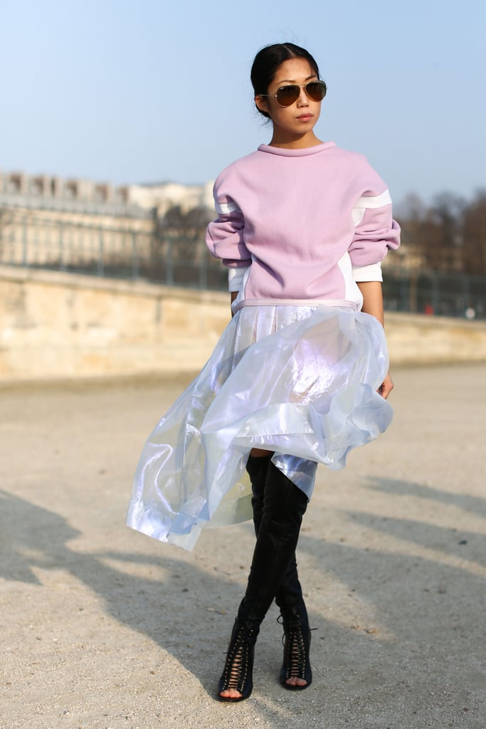 Fashion-forward sportswear and a statement-making skirt.