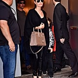Angelina Paired Her Leather Pants With a Black Top, Sweater, and Heels