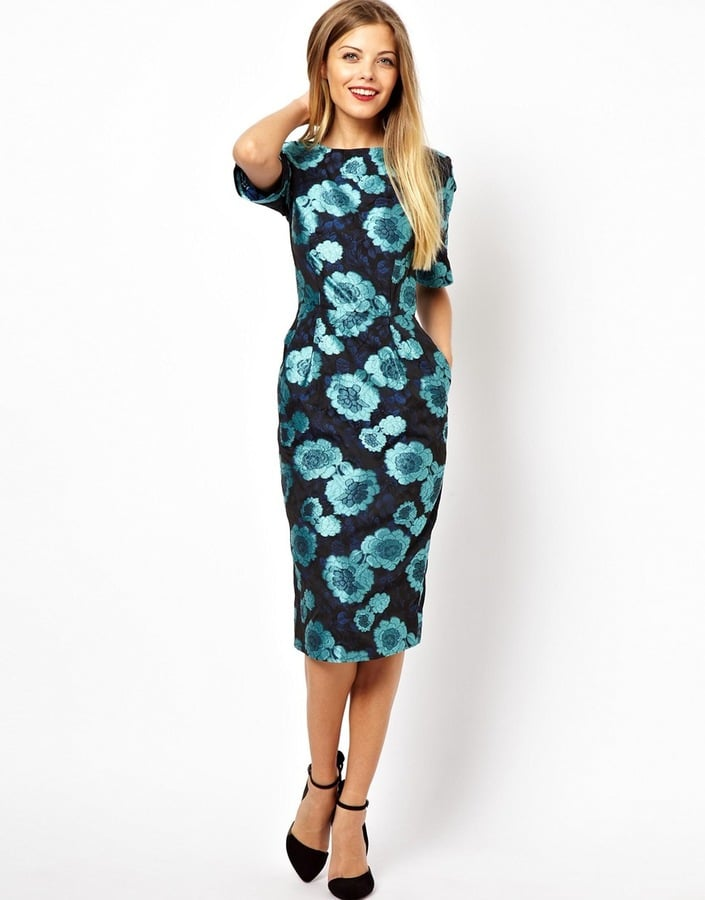 asos floral jacquard wiggle dress 16365 what to wear to