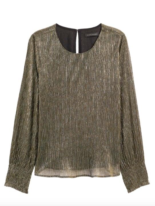 Metallic Smocked-Sleeve Blouse
