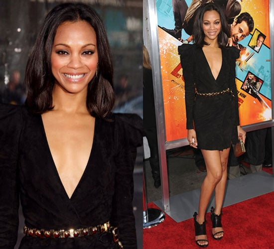 Zoe Saldana Wears Balmain Dress to The Losers Premiere in LA