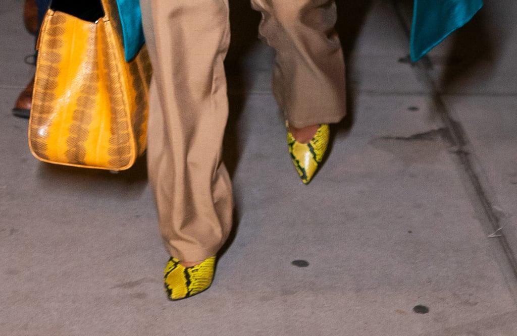 aff485933e3 Priyanka Chopra Yellow Snakeskin Pumps From Aldo | POPSUGAR Fashion ...
