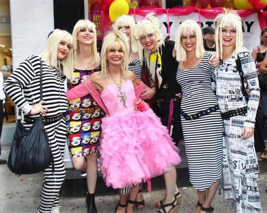 Photos of Betsey Johnson Celebrating 68th Birthday with Lookalikes