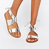 ASOS Freckles Leather Lace-Up Flat Sandals