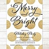 Gold Polka Dot Holiday Party Invitation