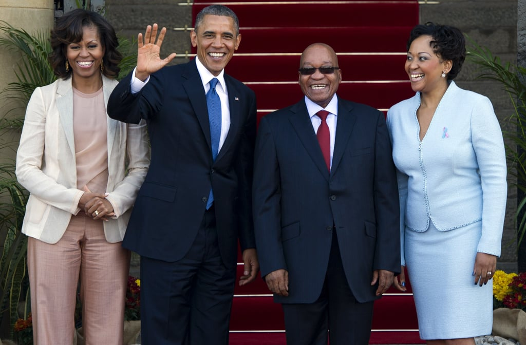 The Obamas stood beside South African President Jacob Zuma and his wife, Thobeka Madiba-Zuma, while visiting Pretoria, South Africa, in June 2013.
