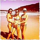 Alessandra Ambrosio showed off her baby bump in Brazil while posing with friends in her bikini in January 2012.