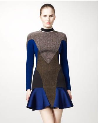 We'd temper Stella's athletic-inspired dress with delicate ankle-strap pumps.  Stella McCartney Mixed-Fabric Colorblock Dress ($3,690)