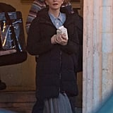 Cate Blanchett wore a heavy coat over her wardrobe on the set of The Monuments Men in Berlin on Wednesday.
