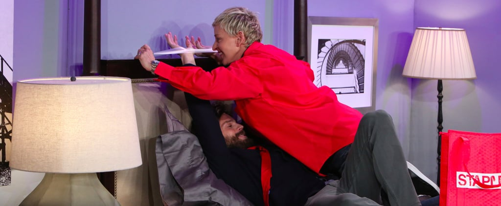 Ellen DeGeneres Tapes Jamie Dornan to a Bed, Tries to Seduce Him With Office Supplies