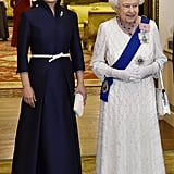 Peng Pulled an Olivia Palermo-Like Belt Trick When She Met the Queen of England