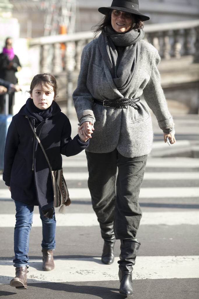 Emmauelle Alt and her daughter kept coordinated in easy outerwear and boots — tres chic!