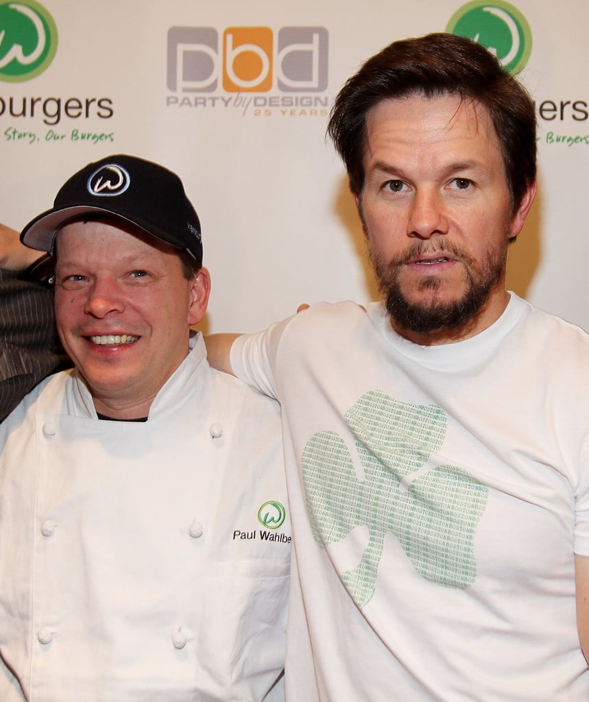 Mark Wahlberg and Paul Wahlberg at the grand opening of Wahlburgers.