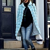 Kate Moss wore a light blue fur coat in London.