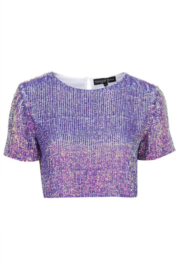 Topshop Sequin Split Back Crop Tee
