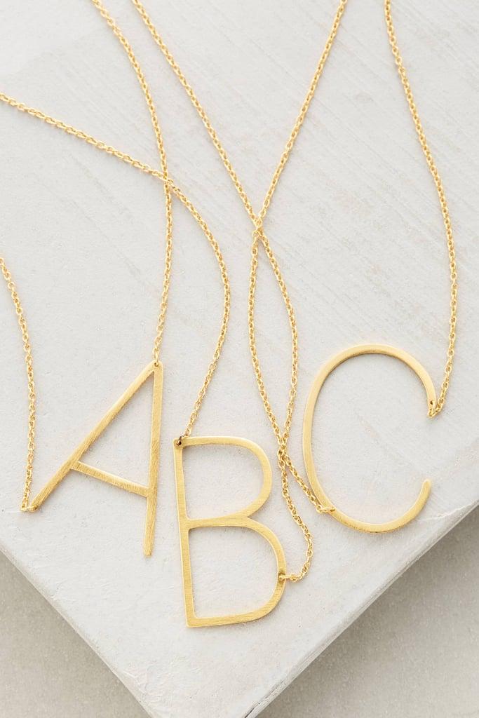 Anthropologie Monogram Pendant Necklace ($38)