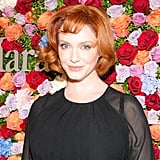 Christina Hendricks may mostly leave her retro looks on television, but her curled bob last night also had a vintage feeling. She complemented her fiery hair color with peachy makeup shades.