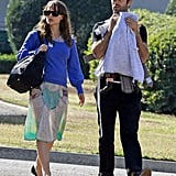 Natalie Portman took a walk in the sun with fiancé Benjamin Millepied and son Aleph Millepied.