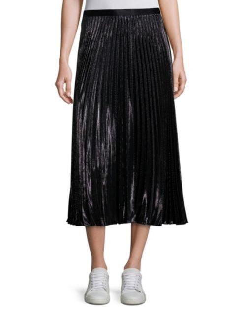 Diane Von Furstenberg Heavyn Metallic Pleated Midi Skirt Victoria
