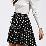 Relipop Flared Short Skirt Polka Dot Pleated Mini Skater Skirt With Drawstring