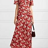 Rixo Evie Ruffled Floral-Print Silk Crepe de Chine Dress