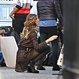 Gisele was spotted in London shooting the Autumn 2013 campaign for H&M.