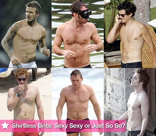 Extensive Photo Gallery of Shirtless British Men Including Robert Pattinson, David Beckham, Orlando Bloom, Prince Harry