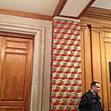 Columns near East Visitor Entrance got the holiday treatment! Volunteers recycled old bits of pinecone, then covered them in paint and made an installation to cover columns in the entryway.