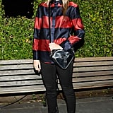 Tennessee Thomas took in Tom Odell with Burberry in the label's dynamic stripes.