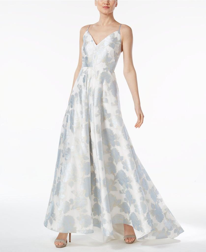 Calvin Klein Floral-Print A-Line Gown | Amal Clooney\'s Blue Dress at ...