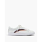 Low-Top Sneakers in White Rainbow Embroidered Canvas