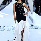At the London premiere of Star Trek Into Darkness, Zoe Saldana looked every bit the movie star in her Vionnet gown with a black silk-embellished bodice and a white geometric skirt.