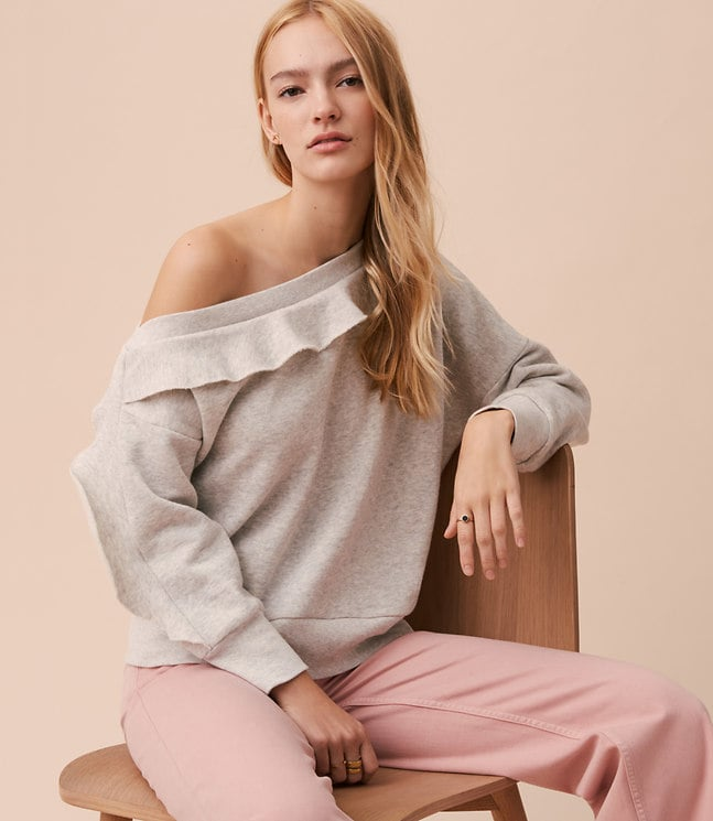 Loft Lou & Grey Ruffle Off-the-Shoulder Sweatshirt
