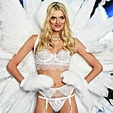 Lily Donaldson was wrapped in white lace and feathers in 2015.