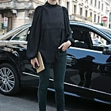 A statement blouse lent a cool counterpart to skinnies and pointed-toe pumps.