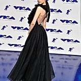 Wearing a Christian Dior gown at the 2017 MTV VMAs.