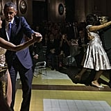 Michelle attracted all light in the room, dancing the tango in her metallic outfit.